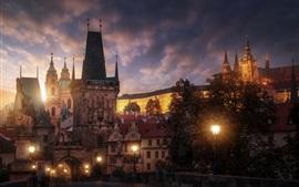 체코, 프라하, 저녁, 조명, 도시, 건물