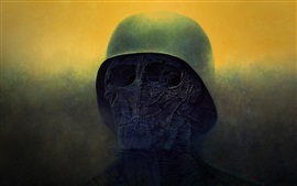 Preview wallpaper Death, skull, helmet, horror, art picture