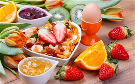 Delicious food, strawberry, kiwi, orange, eggs, flowers