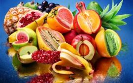 Different style normal fruit, apple, orange, pineapple, pear, banana