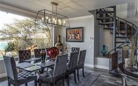 Comedor, cocina, mesa, sillas, muebles, interior