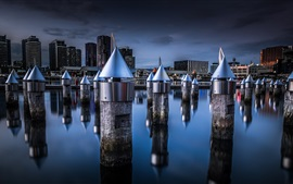 Preview wallpaper Docklands, Melbourne, Victoria, Australia, night, city, water, stump