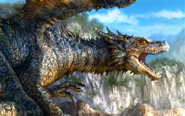Dragon, mouth, teeth, fantasy art picture