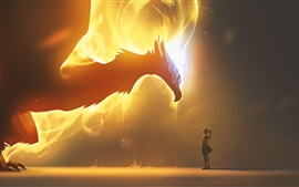 Preview wallpaper Dragon, wings, fire, girl, fantasy art picture