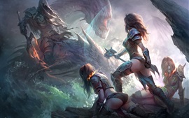 Preview wallpaper Dragons of Eternity, game art picture, girl, warrior
