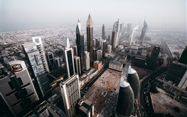 Dubai, UAE, city top view, skyscrapers, roads