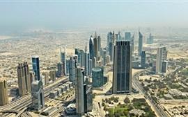 Дубай, ОАЭ, небоскребы, город, пустыня