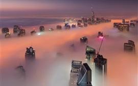 Dubai, emirates, arranha-céus, nevoeiro, nuvens, manhã