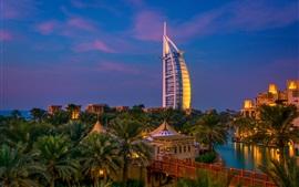 Dubai, noche, ciudad, árboles, río, villa