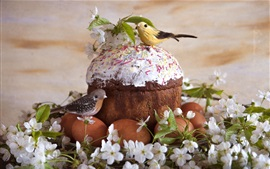 Eggs, cake, birds, flowers, Easter