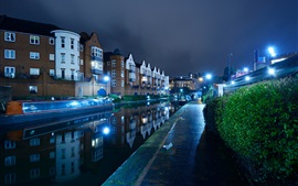 England, Birmingham, river, boats, night, lights