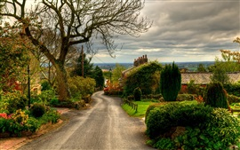Preview wallpaper England, town, road, houses, trees