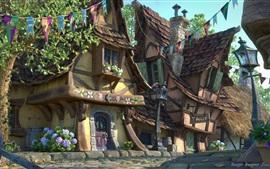 Vila de conto de fadas, árvores, rua, design criativo