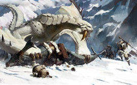 Preview wallpaper Fantasy, art picture, snow, warrior, monster