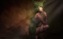 Preview wallpaper Fantasy girl, Asian, plants, art photography