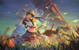 Fantasy girl, anime, summer, hat, broom