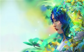 Fantasy girl, blue hair, leaves