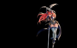 Preview wallpaper Fantasy girl, elf, dragon, sword, black background