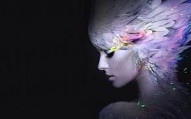 Fantasy girl, feathers, black background