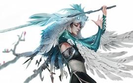 Fantasy girl, owl elf, sword, wings