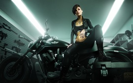 Preview wallpaper Fantasy girl, tattoo, motorcycle