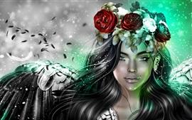 Fantasia menina, coroa de flores, cabelo preto, asas, anjo