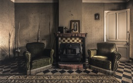 Fireplace, chairs, room, retro style