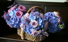 Preview wallpaper Flowers, basket, pink roses, blue hydrangea