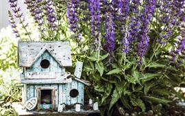 Flores, casa de passarinho