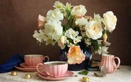 Aperçu fond d'écran Fleurs, nature morte, café