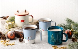 Preview wallpaper Four cups of coffee, spruce twigs, balls, gift, Christmas