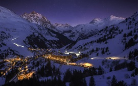 Preview wallpaper France, Meribel, city, night, snow, lights