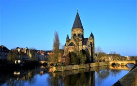 France, Metz, cathedral, city, river, bridge