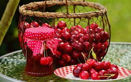 Fresh cherry, fruit, jam