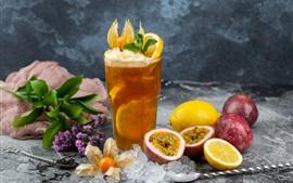 Fruit drinks, passion fruit, lemon