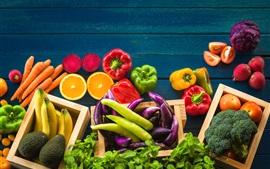 Preview wallpaper Fruits and vegetables, banana, tomato, oranges, peppers, broccoli