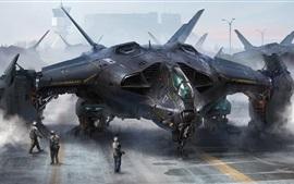Aperçu fond d'écran Dessin d'art futuriste, avion