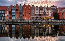 Preview wallpaper Gdansk, Poland, river, houses, water reflection