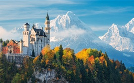 Preview wallpaper Germany, Bayern, Neuschwanstein Castle, trees, mountains, autumn