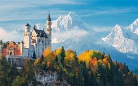 Alemanha, bayern, Neuschwanstein, castelo, árvores, montanhas, outono