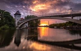 Alemania, berlín, abadía puente, río, nubes, ocaso, anochecer