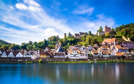 Germany, Hessen, Hirschhorn, houses, town, river, blue sky