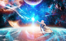 Preview wallpaper Girl and soul, feelings, hands, planets, space, creative design
