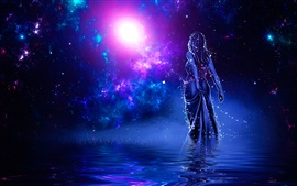 Preview wallpaper Girl back view, shine, water, stars, galaxy, art picture