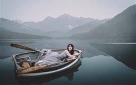 Girl, boat, lake, mountains, morning