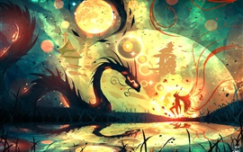 Aperçu fond d'écran Fille, dragon, eau, dessin d'art