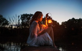 Preview wallpaper Girl, lamp, dock, river, darkness