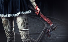 Preview wallpaper Girl, legs, fishnets socks, axe, blood