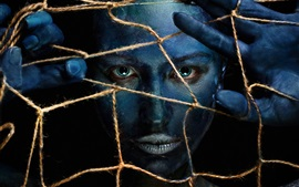 Preview wallpaper Girl makeup, face, blue skin, web