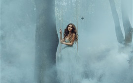 Preview wallpaper Girl play the swing in the forest, fog, butterfly